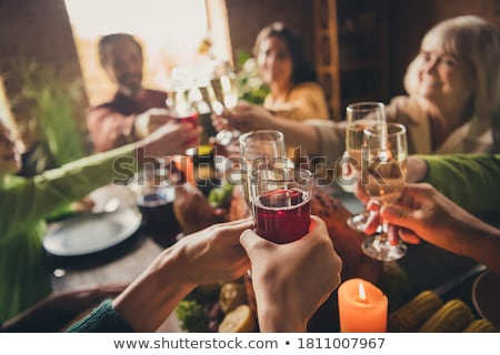 Család gyűlés pezsgő buli bor boldog Stock fotó © photography33