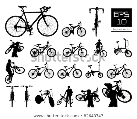 vektör · bisiklet · siluet · ayarlamak · siyah · toplama - stok fotoğraf © szabore