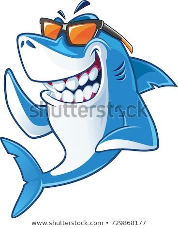 Tubarão desenho animado zangado abrir boca sorrir Foto stock © dagadu