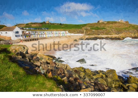 Plage cornwall ciel nuages bleu vagues Photo stock © latent