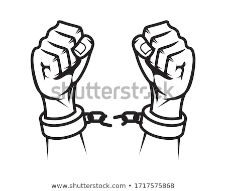 Hands of the man - the criminal, chained in handcuffs stock photo © acidgrey