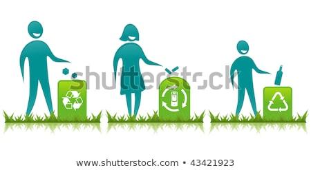 Woman Recycling Batteries And Plastic Bottles Stok fotoğraf © BibiDesign