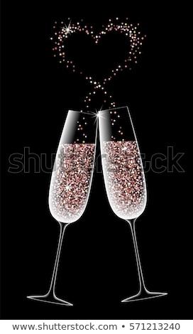 twee · robots · liefde · datum · bril · champagne - stockfoto © carodi