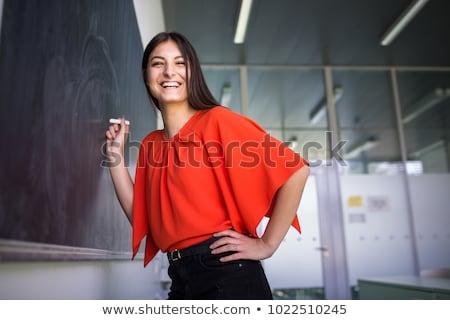 ストックフォト: 肖像 · 若い女性 · 黒板 · 教室 · 学校 · 背景