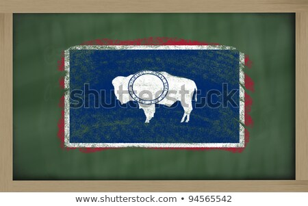 Flag Of Us State Of Wyoming On Blackboard Painted With Chalk Foto stock © vepar5