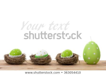 színes · húsvéti · tojás · gyertyák · közelkép · három · alakú - stock fotó © elinamanninen