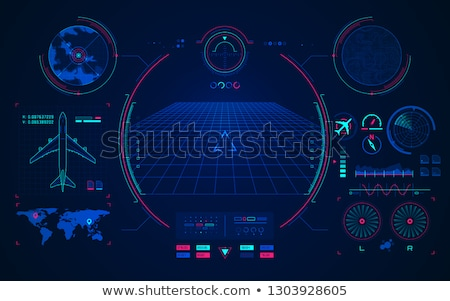 Blue background with the navigator radar for plane and aircraft vector Stock photo © krabata