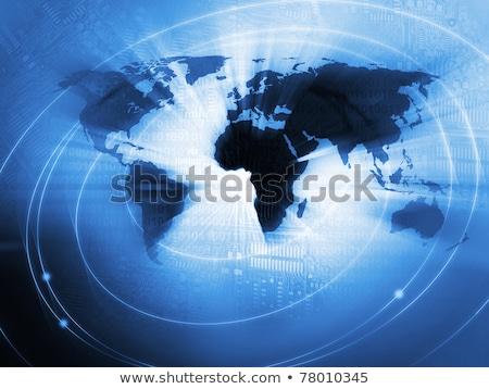 Globális kommunikáció fekete szimbólum kapcsolatok kék nemzetközi Stock fotó © Lightsource