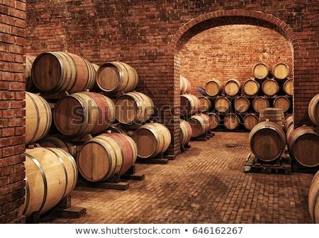 Borospince fából készült ipar bolt hordó raktár Stock fotó © goce