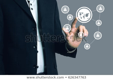 Technology concept. Businesswoman and virtual interface with web stock photo © HASLOO