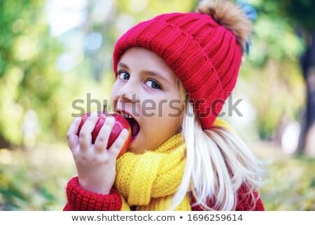 manzana · retrato · mujer · verde · boca - foto stock © mikko