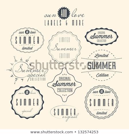 Soleil vintage étiquette typographique étiquettes Photo stock © kistrialos