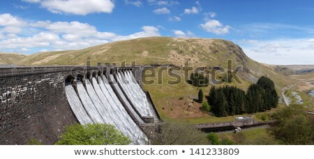 The Claerwen reservoir dam overflowing, Elan Valley Wales UK. Stock photo © latent