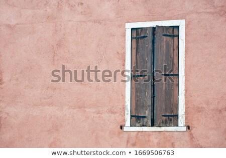 öreg zsalu ablak zárva festett agyag Stock fotó © alekleks