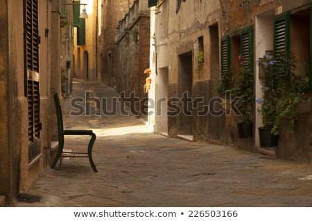 medieval street in the town of volterra in tuscany italy stock photo © anshar