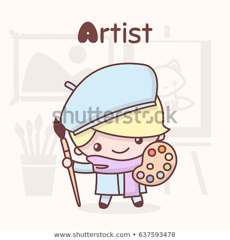 Chibi professions set: Painter Stock photo © Ansy