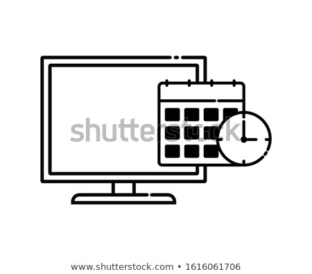 Desktop Calendar with TV Set Icon. Stock photo © tashatuvango