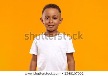 Foto d'archivio: Piccolo · ragazzo · studio · piccolo · strisce · shirt