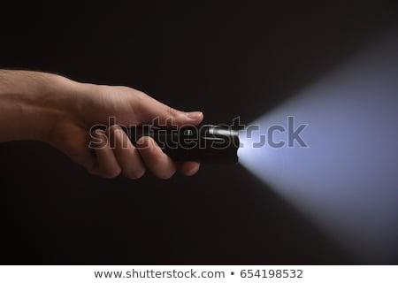 fekete · elemlámpa · fém · izolált · fehér · fény - stock fotó © reticent