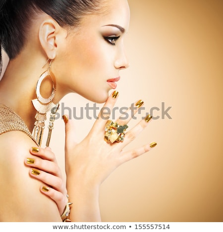 face art portrait manicured nails beautiful model posing blac stock photo © victoria_andreas