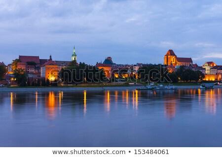 вечер · средневековых · город · Польша · старый · город · Skyline - Сток-фото © phbcz