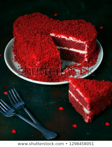 czerwony · aksamitu · serca · odizolowany · biały · dwa - zdjęcia stock © songbird