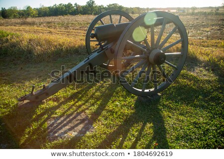 Old rusty cannon at sunset Stock photo © Nejron