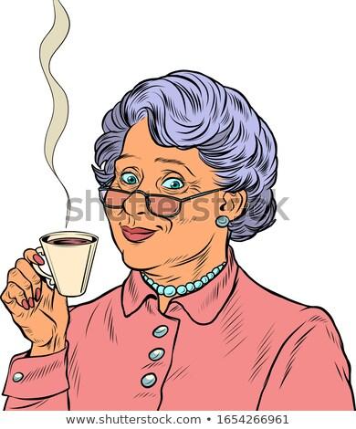 koffie · retro · vrouw · vintage · beker · portret - stockfoto © nejron