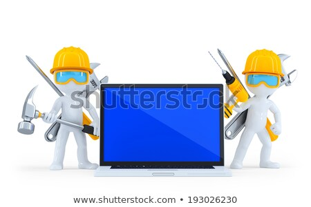 conception · de · site · web · portable · écran · 3d · illustration · atterrissage - photo stock © kirill_m