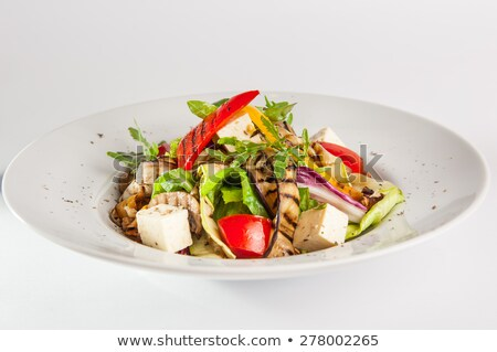 Salade blanche plaque vert alimentaire Photo stock © cypher0x