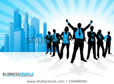 Iş afiş iş adamları çalışma mavi siyah Stok fotoğraf © matt_post