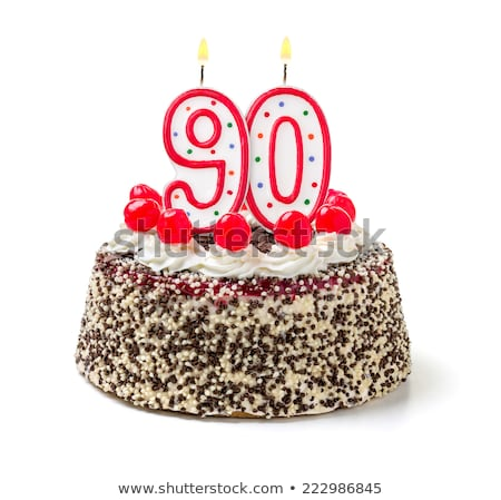 Foto stock: Pastel · de · cumpleanos · ardor · vela · número · torta · signo