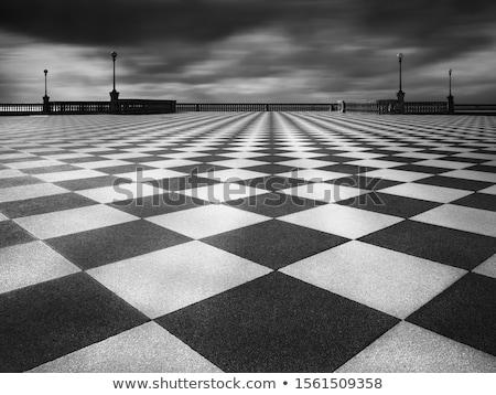 Bağbozumu satranç tahtası açık havada satranç tablo park Stok fotoğraf © stevanovicigor