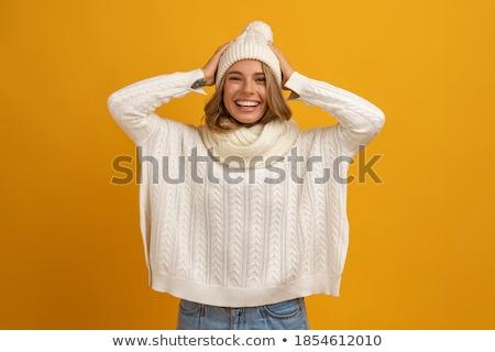 Gyönyörű nő fehér pulóver stúdió fény nő Stock fotó © Pilgrimego