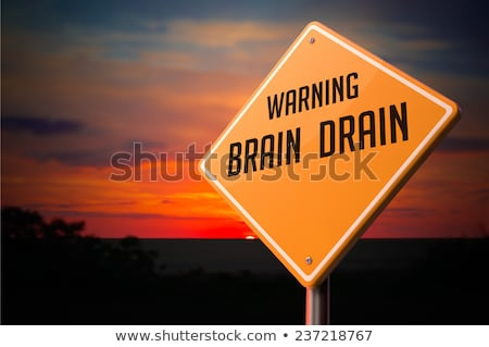 Stock photo: Brain Drain on Warning Road Sign.