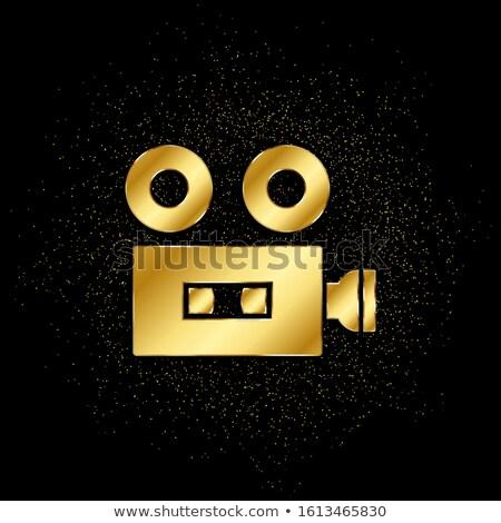 Caméra vidéo or vecteur icône bouton design Photo stock © rizwanali3d