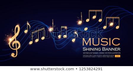 Music Notes golden Vector Icon Design Stock photo © rizwanali3d
