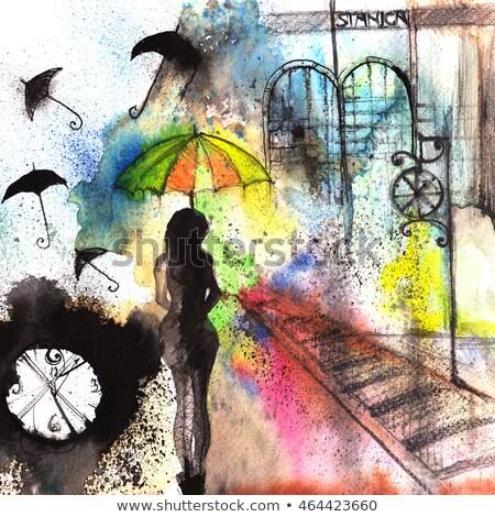 古い 傘 ウィンドウ ハンドメイド パラソル 空 ストックフォト © compuinfoto