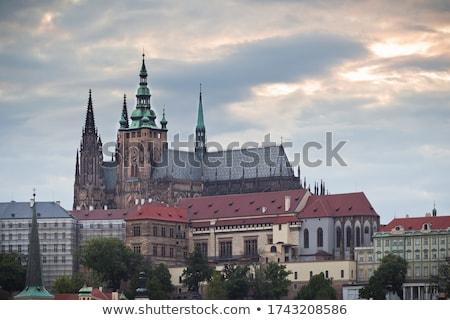 Stok fotoğraf: Prag · kale · gün · batımı · gökyüzü · seyahat
