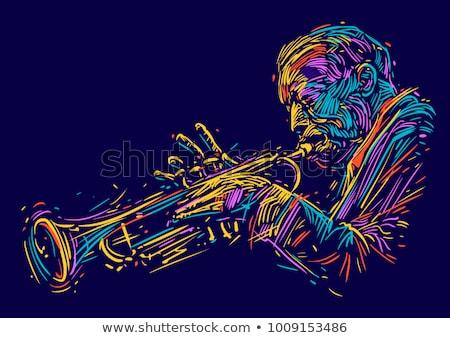 retro · dzsessz · felső · kilátás · gyönyörű · pinup - stock fotó © Fisher