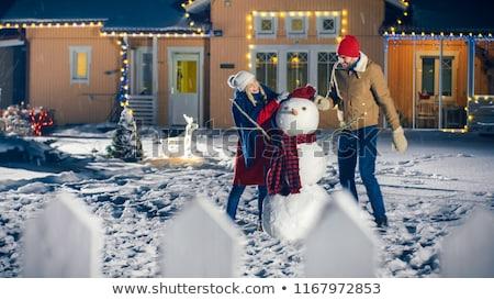 Stockfoto: Sneeuwpop · paar · illustratie · familie · sneeuw · winter