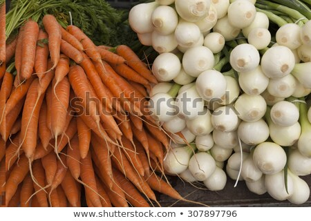 Fresh Clean Carrots With Foliage And Onion On The Market Stock fotó © mcherevan
