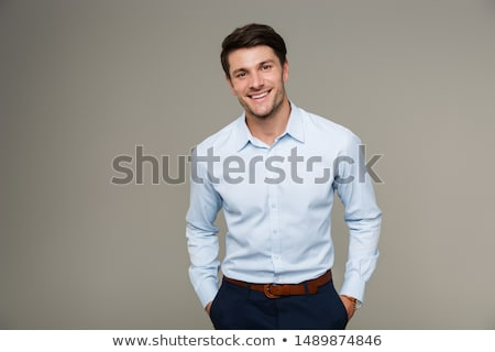 Foto stock: Homem · de · negócios · isolado · jovem · guarda-chuva · escritório · sensual