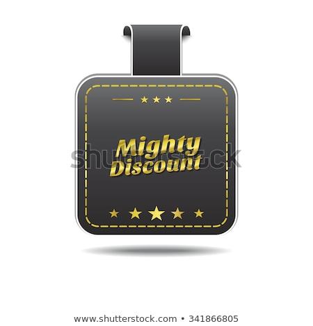 Machtig korting gouden vector icon ontwerp Stockfoto © rizwanali3d