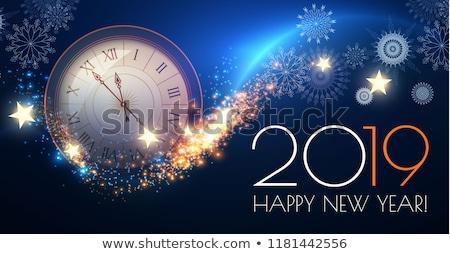 Merry Christmas and New Year greeting wallpaper with xmas clock Stock photo © carodi