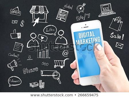 közösségi · média · kék · infografika · elemek · lineáris · társasági - stock fotó © davidarts