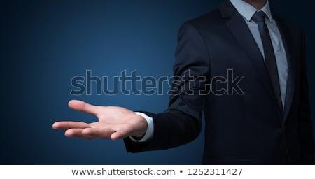 üzletember · nyitva · kéz · szürke · férfi · hálózat - stock fotó © fotoquique
