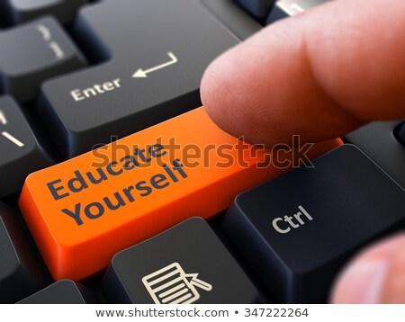 Eğitmek kendiniz kişi tıklayın klavye düğme Stok fotoğraf © tashatuvango