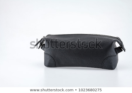 Mans black leather accessory bag or pouch isolated on white Stock photo © shutswis