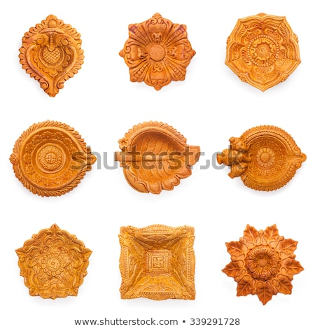 top view collage of beautifully carved designer clay lamps stock photo © ziprashantzi